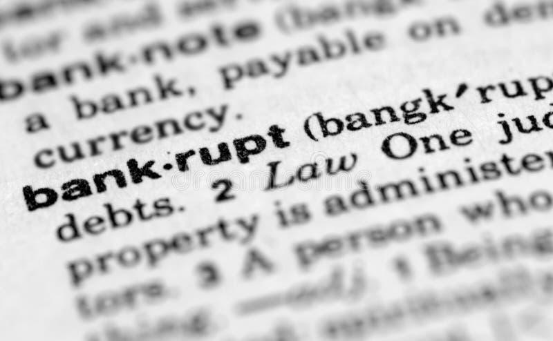 Palabra para el bankrupt fotografía de archivo libre de regalías