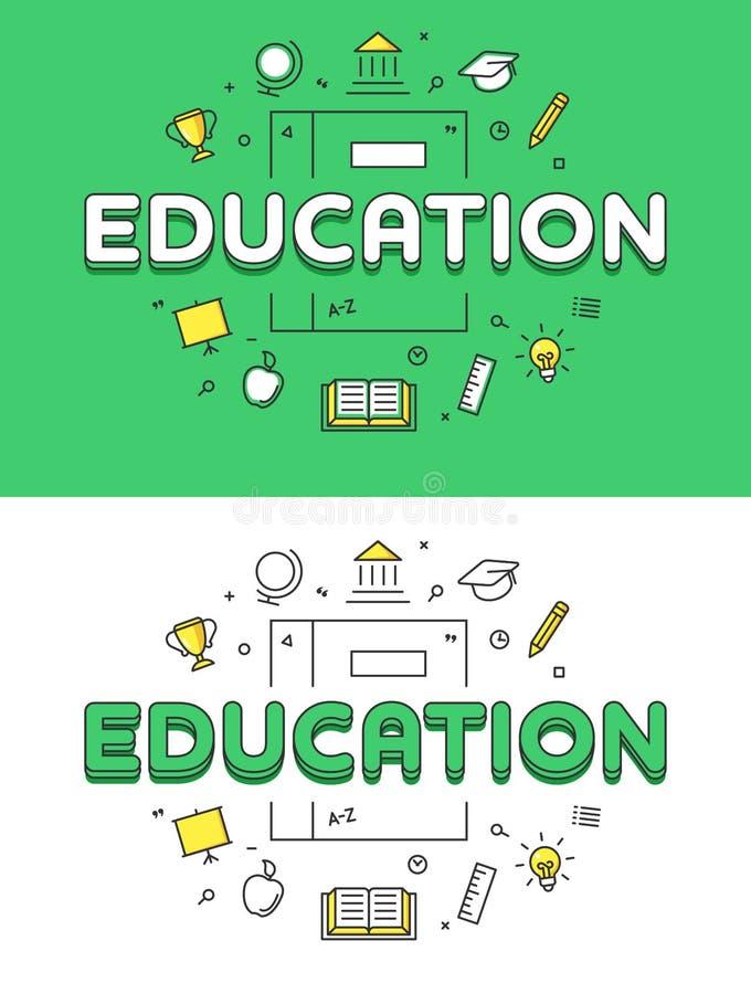Palabra plana linear de la educación sobre el libro e iconos libre illustration