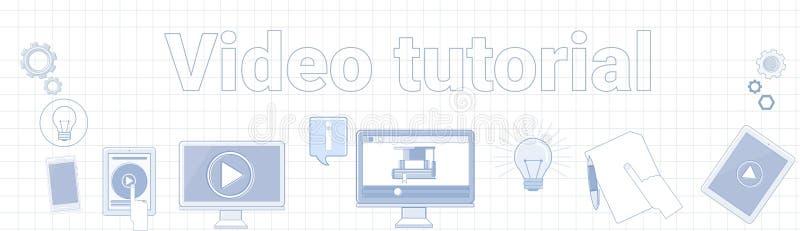 Palabra preceptoral video en concepto en línea ajustado de la educación de la bandera horizontal del fondo stock de ilustración