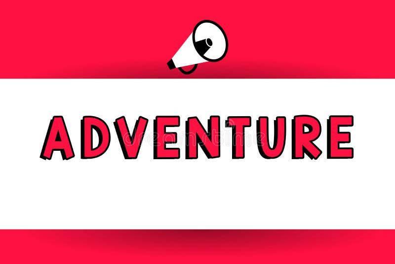 Palabra que escribe aventura del texto El concepto del negocio para la experiencia atrevida inusual y emocionante hizo una o haci ilustración del vector