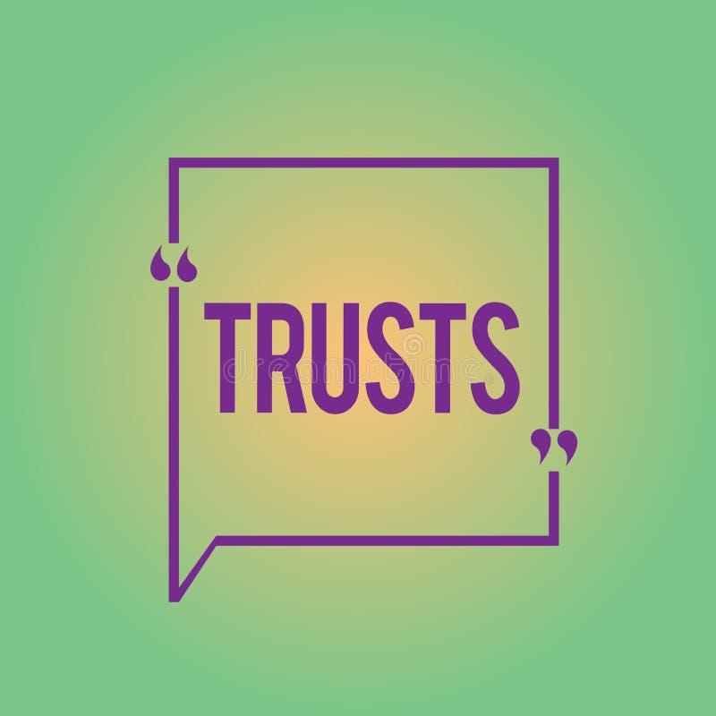 Palabra que escribe confianzas del texto Concepto del negocio para la creencia firme en verdad de la confiabilidad o la capacidad libre illustration