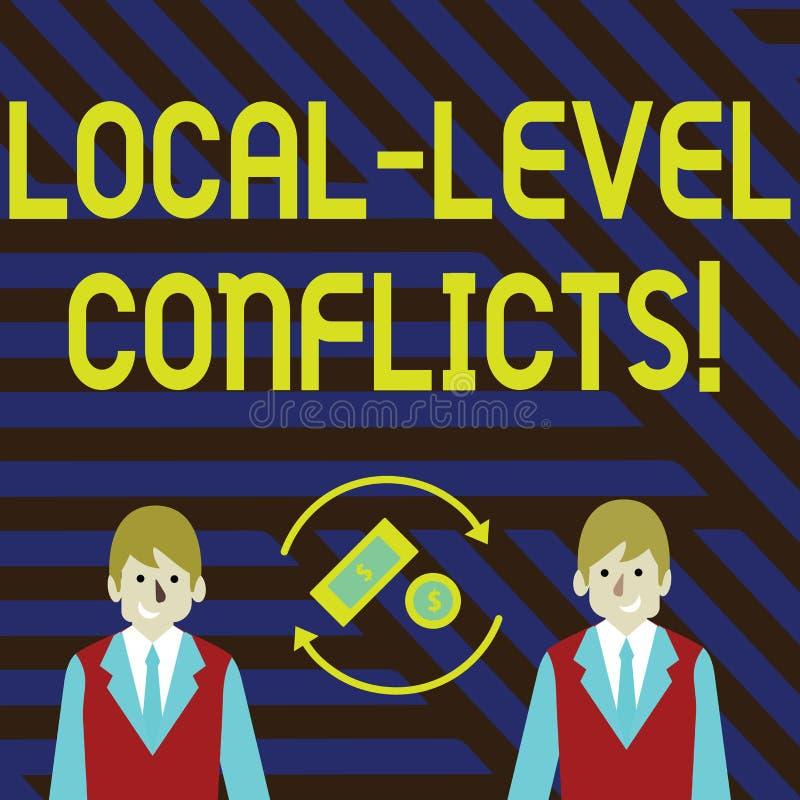 Palabra que escribe conflictos del nivel local del texto Concepto del negocio para crear incentivos locales para estropear el din libre illustration
