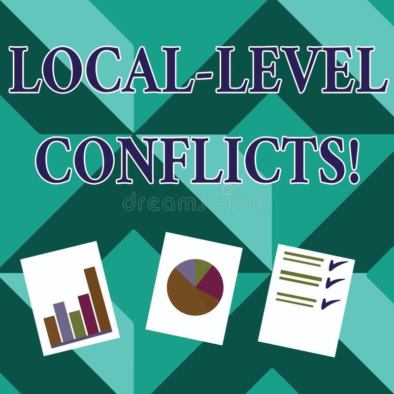 Palabra que escribe conflictos del nivel local del texto Concepto del negocio para crear incentivos locales para estropear el pro libre illustration
