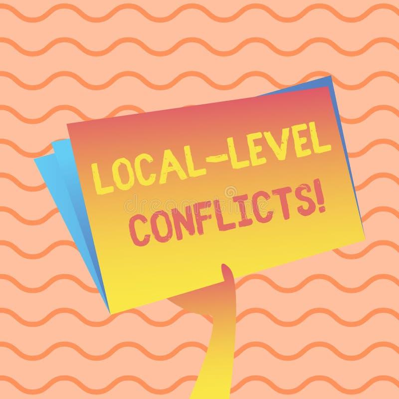 Palabra que escribe conflictos del nivel local del texto Concepto del negocio para crear incentivos locales para estropear la man libre illustration