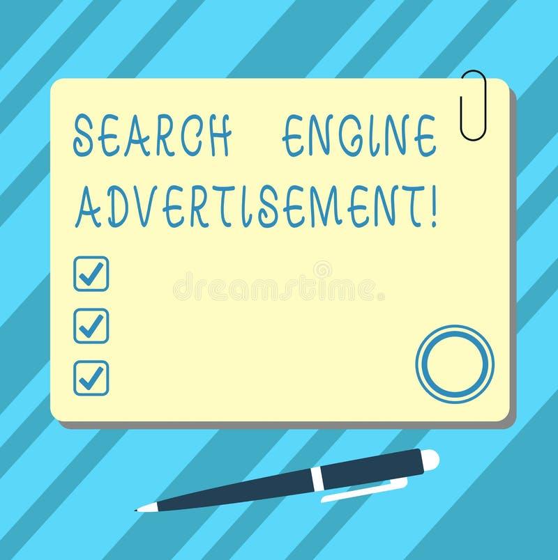 Palabra que escribe el anuncio del Search Engine del texto Concepto del negocio para colocar los anuncios en línea en espacio en  libre illustration