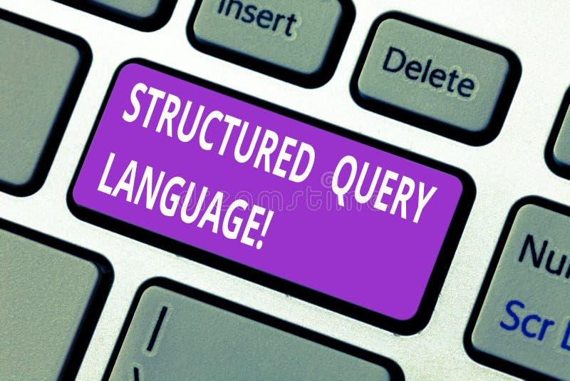 Palabra que escribe el lenguaje de interrogación estructurado del texto Concepto del negocio para el lenguaje de programación par fotos de archivo libres de regalías