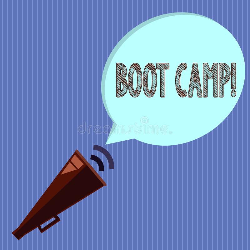 Palabra que escribe el texto Boot Camp Concepto del negocio para el campo de entrenamiento militar para la aptitud dura de la dis libre illustration