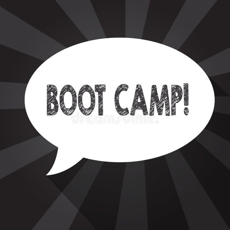 Palabra que escribe el texto Boot Camp Concepto del negocio para el campo de entrenamiento militar para la aptitud dura de la dis stock de ilustración