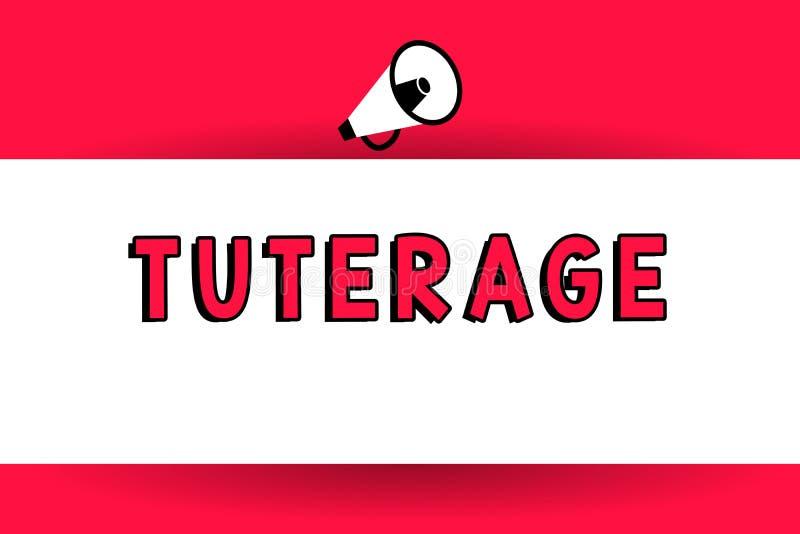 Palabra que escribe el texto Tuterage Concepto del negocio para la protección de o la autoridad sobre alguien o algo megáfono de  ilustración del vector