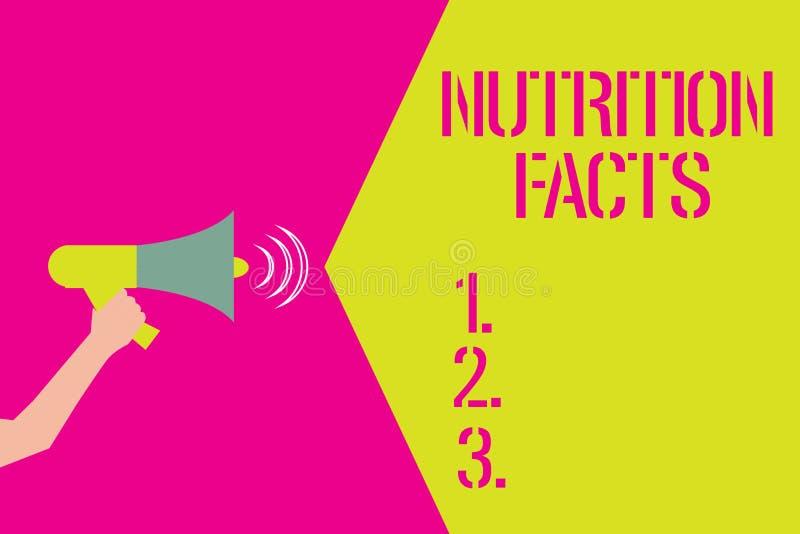 Palabra que escribe hechos de la nutrición del texto Concepto del negocio para información detallada sobre los alimentos de la co ilustración del vector
