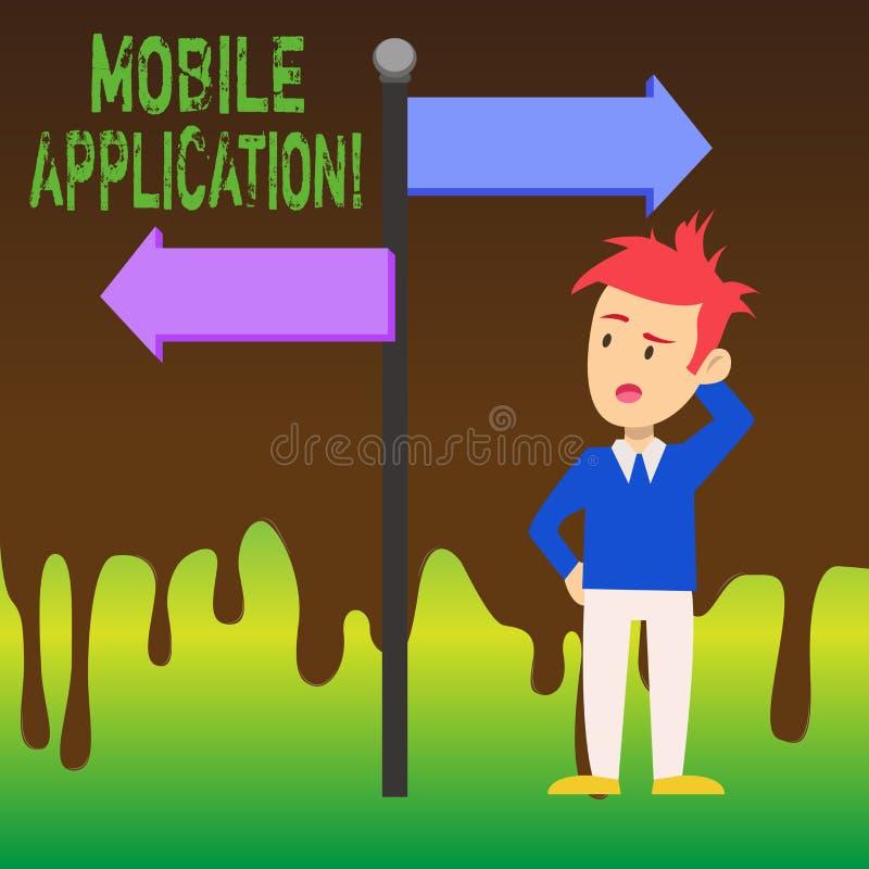 Palabra que escribe la aplicación móvil del texto Concepto del negocio para el software de aplicación diseñado para correr en un  stock de ilustración
