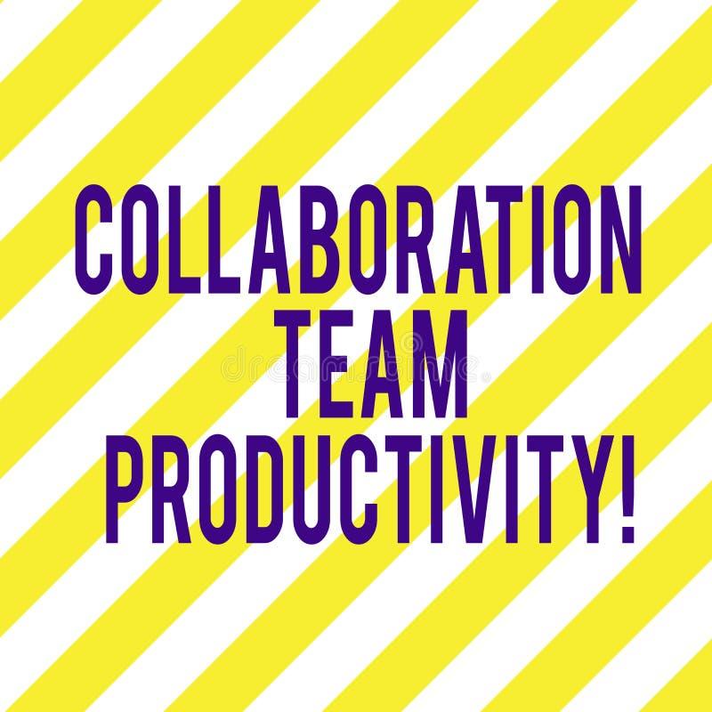 Palabra que escribe la colaboración Team Productivity del texto Concepto del negocio para las metas determinadas del equipo para  libre illustration