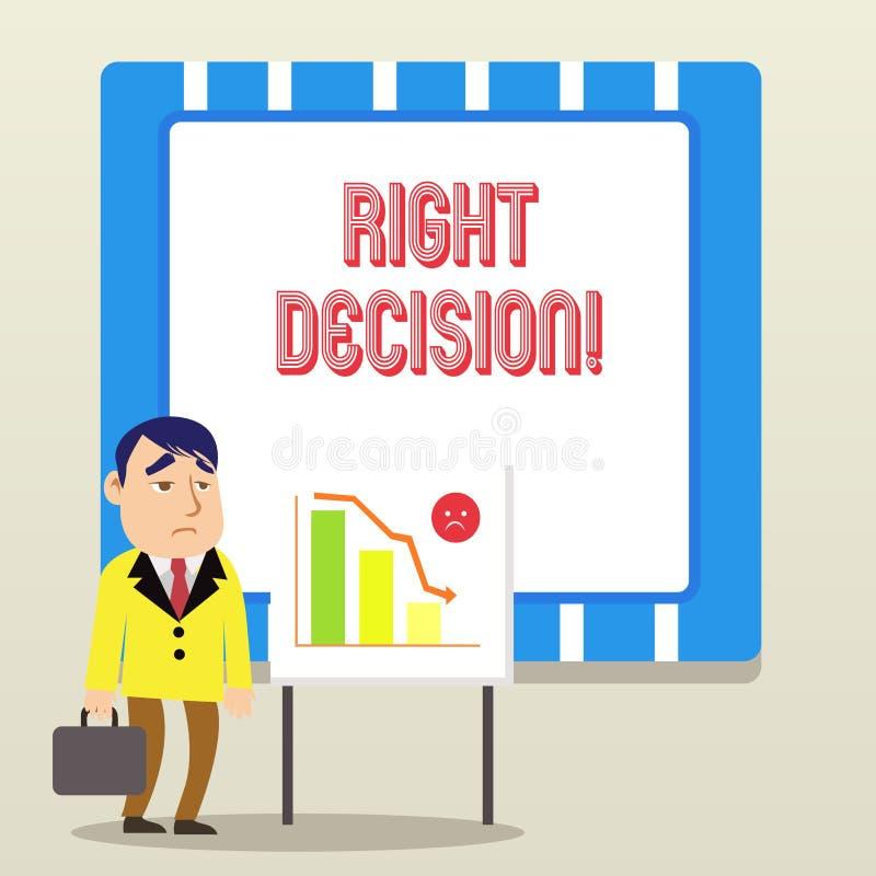 Palabra que escribe la decisión de la derecha del texto Concepto del negocio para tomar la buena decisi?n despu?s de considerar m ilustración del vector
