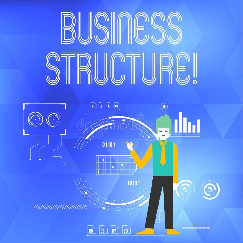 Palabra que escribe la estructura del negocio del texto Concepto del negocio para el marco de la organización que es hombre legal stock de ilustración