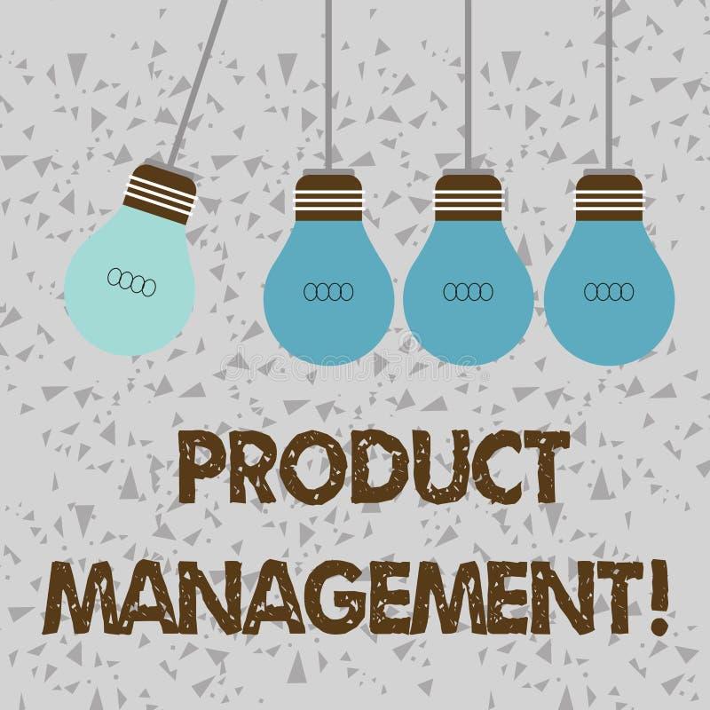 Palabra que escribe la gestión de productos del texto Concepto del negocio para la función de organización del ciclo vital dentro stock de ilustración