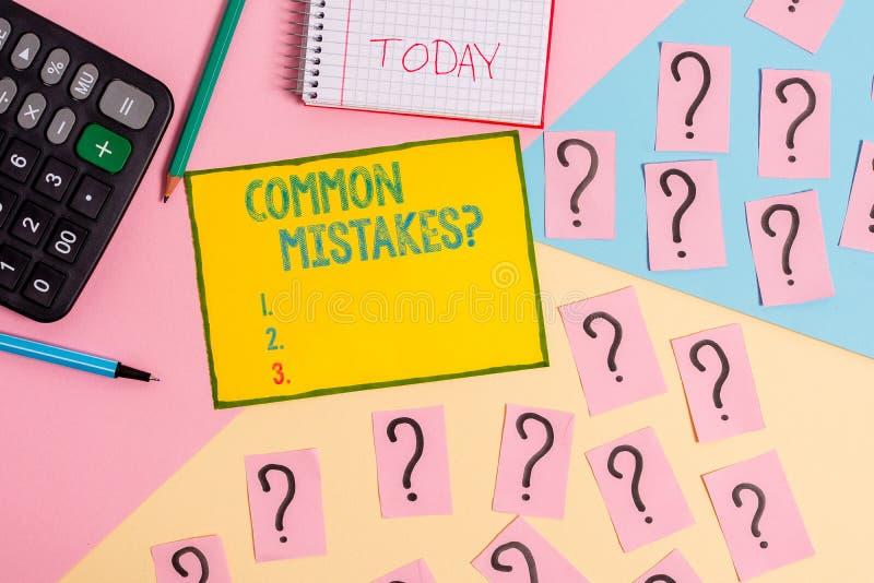 Palabra que escribe la pregunta de los errores de campo com?n del texto Concepto del negocio para el acto de la repetición o las  imagen de archivo