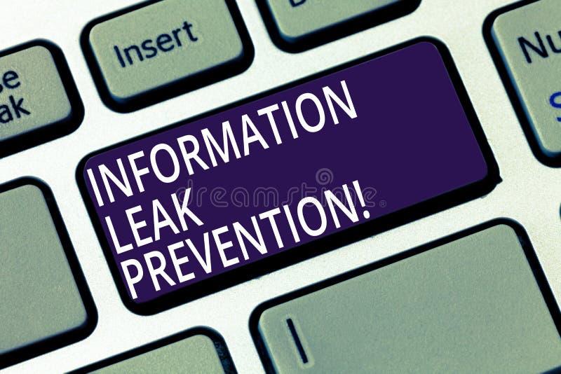 Palabra que escribe la prevención del escape de la información del texto Concepto del negocio para inhibir la información crítica imagen de archivo