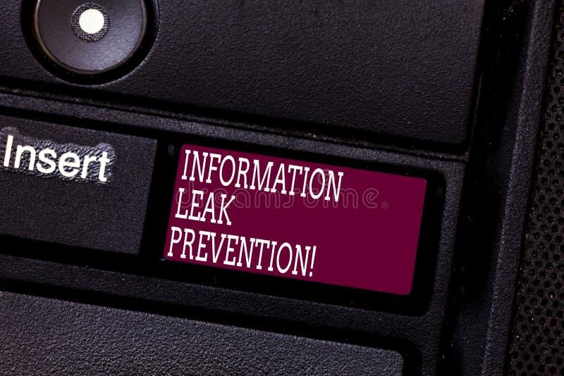 Palabra que escribe la prevención del escape de la información del texto Concepto del negocio para inhibir la información crítica imágenes de archivo libres de regalías