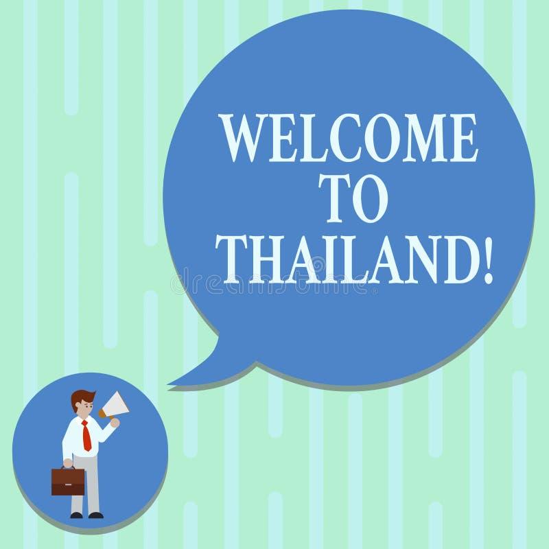 Palabra que escribe la recepción del texto a Tailandia Concepto del negocio para que demostración de invitación o turista visite  ilustración del vector
