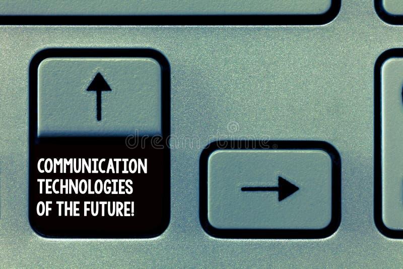 Palabra que escribe las tecnologías de comunicación del texto del futuro Concepto del negocio para los apps sociales innovadores  fotos de archivo