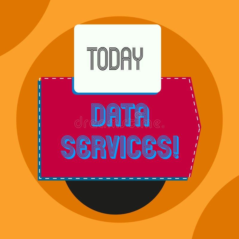 Palabra que escribe los servicios de datos del texto Concepto del negocio para los servicios de tercera persona que ayudan a los  ilustración del vector