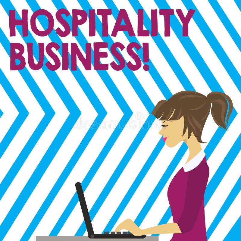 Palabra que escribe negocio de la hospitalidad del texto Concepto del negocio para la categoría amplia de campos dentro de la fot stock de ilustración