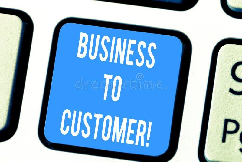 Palabra que escribe negocio del texto al cliente Concepto del negocio para las transacciones Direct entre una compañía y los cons foto de archivo