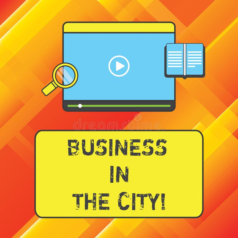 Palabra que escribe negocio del texto en la ciudad El concepto del negocio para las oficinas profesionales de las compañías urban ilustración del vector