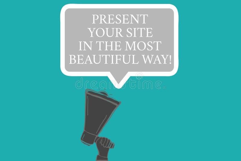 Palabra que escribe a presente del texto su sitio en la manera más hermosa Concepto del negocio para Create una mano hermosa del  imágenes de archivo libres de regalías