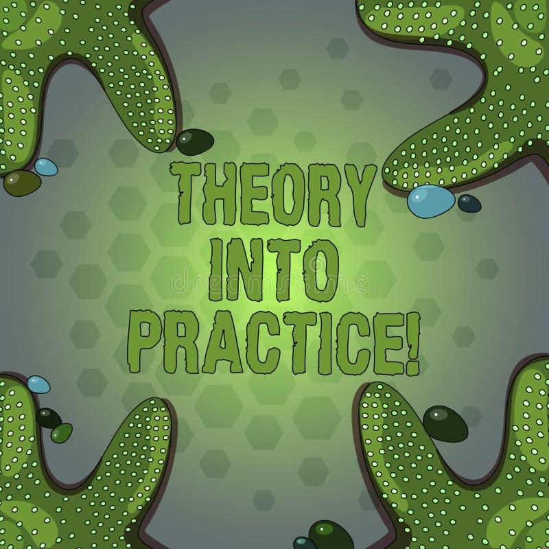 Palabra que escribe teoría del texto en práctica El concepto del negocio para las manos en el aprendizaje aplica conocimiento en  libre illustration