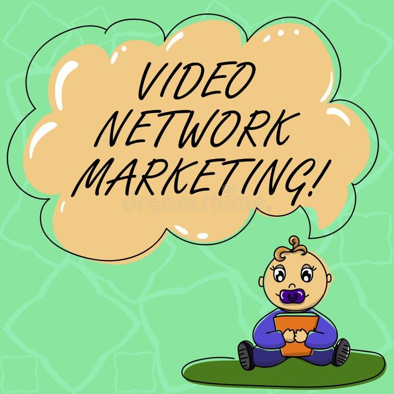 Palabra que escribe a texto el márketing video de la red Concepto del negocio para el vídeo de acoplamiento en su sentada del beb libre illustration