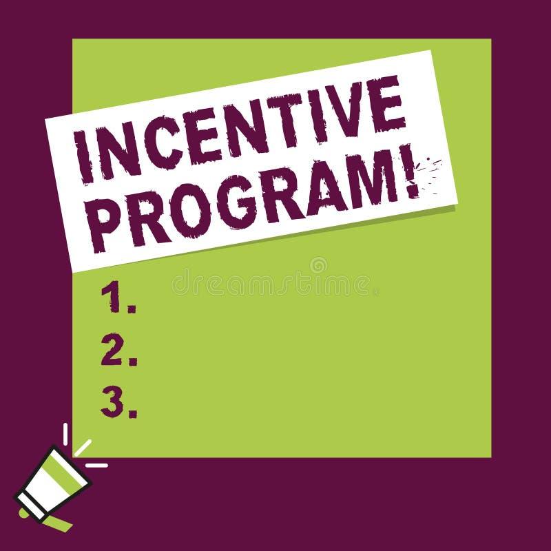 Palabra que escribe a texto el programa incentivo Concepto del negocio para el esquema específico usado para promover la cierta a stock de ilustración
