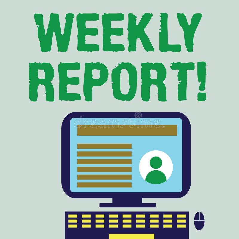 Palabra que escribe a texto informe semanal El concepto del negocio para incluye la información sobre qué se han sabido dentro de stock de ilustración