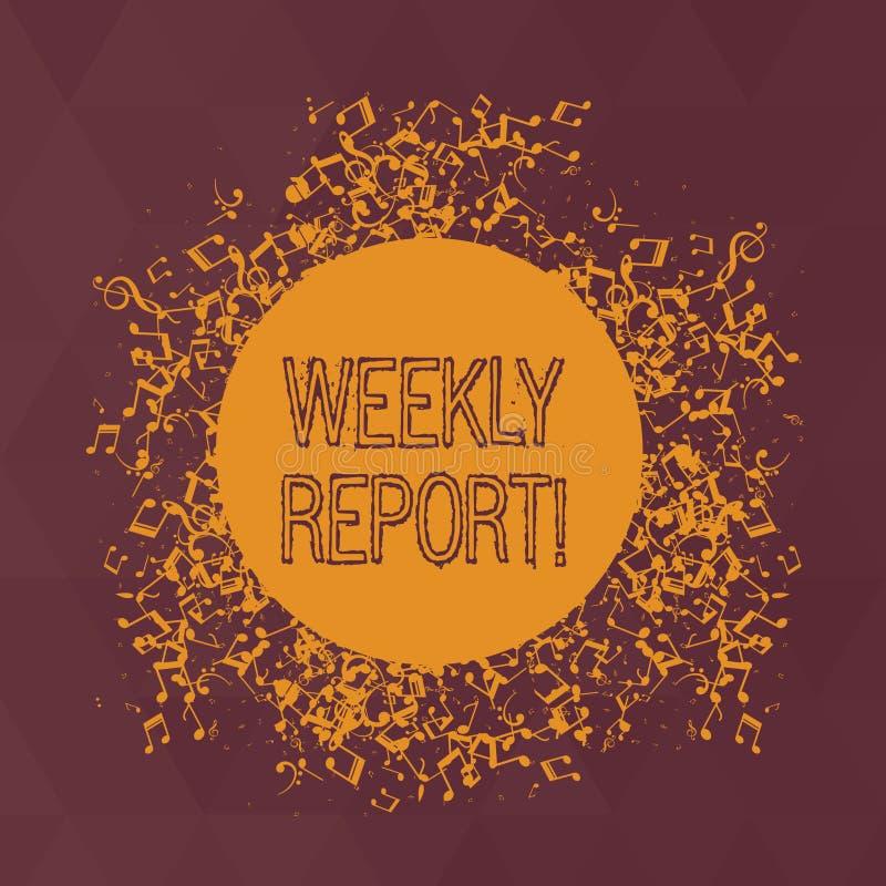 Palabra que escribe a texto informe semanal El concepto del negocio para incluye la información sobre qué se han sabido dentro de libre illustration