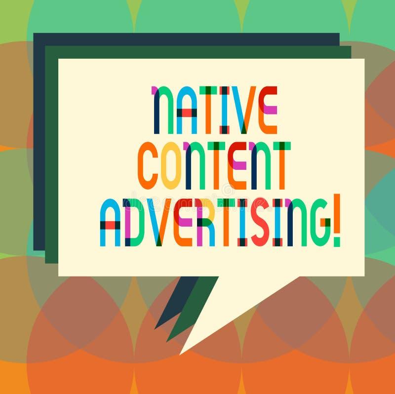Palabra que escribe a texto la publicidad contenta nativa El concepto del negocio para la experiencia del anuncio sigue la pila n libre illustration