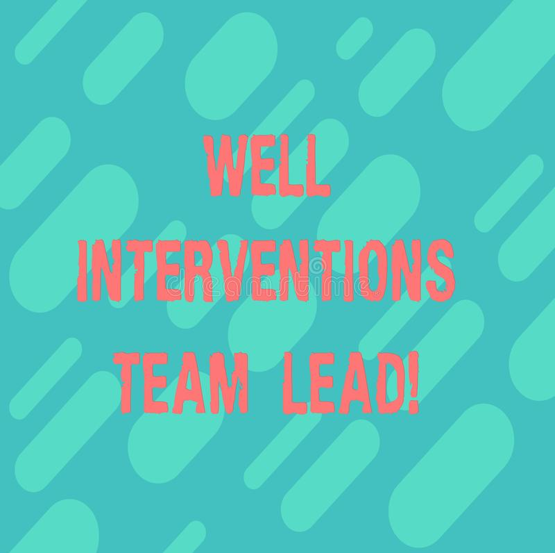 Palabra que escribe a texto las intervenciones bien Team Lead Concepto del negocio para la repetición diagonal de la ingeniería d ilustración del vector