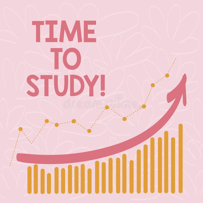 Palabra que escribe tiempo del texto para estudiar El concepto del negocio para los exámenes a continuación necesita el concentra ilustración del vector