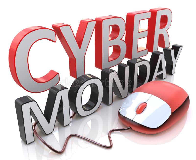 Palabra ratón cibernético de lunes y del ordenador ilustración del vector