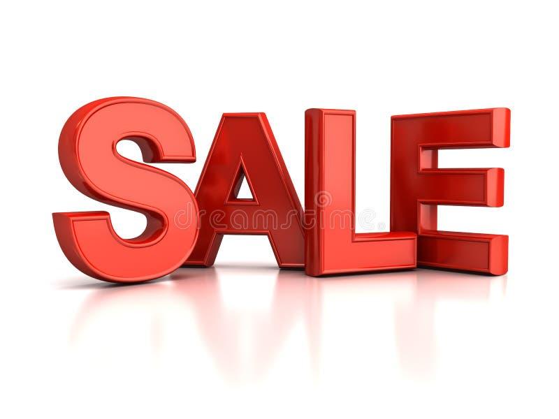 palabra roja de la venta 3d sobre blanco ilustración del vector