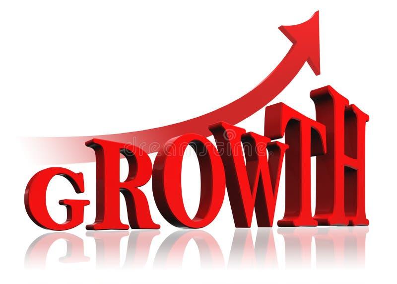 Palabra roja y flecha del crecimiento stock de ilustración