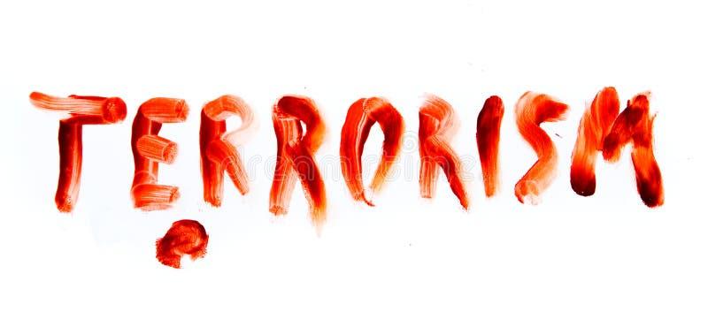 Palabra sangrienta de la fuente del terrorismo imagen de archivo libre de regalías