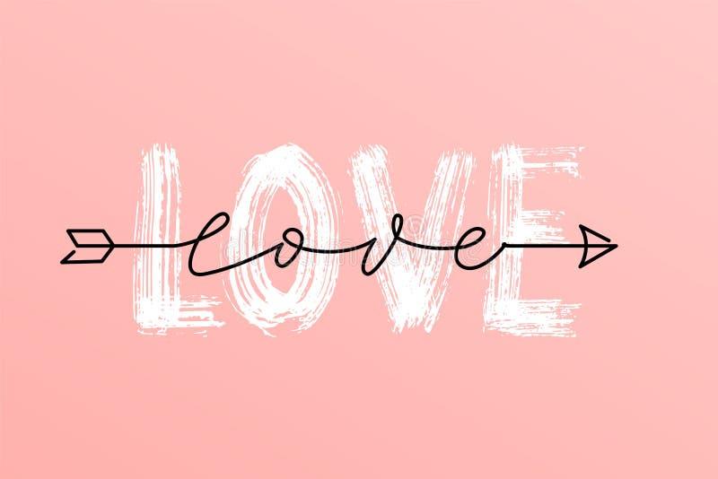 Palabra seca del cepillo del amor y sobre la palabra superior de la escritura del amor en letras exhaustas de la mano de la flech libre illustration