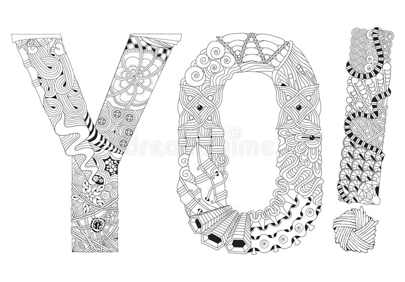 Palabra YO Para Colorear Objeto Decorativo Del Zentangle Del Vector ...