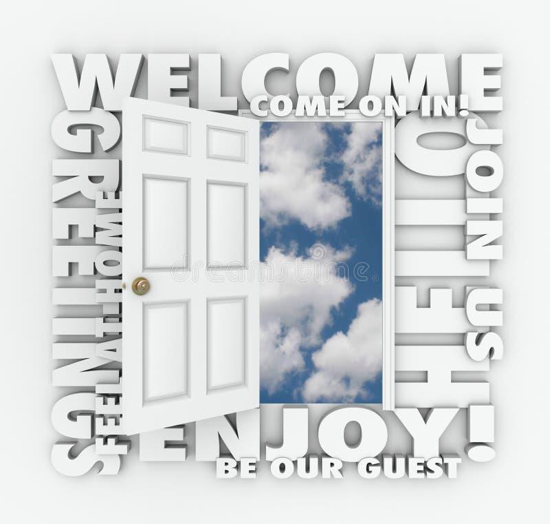 Palabras amistosas abiertas agradables de la invitación de la huésped del servicio de la puerta hola stock de ilustración
