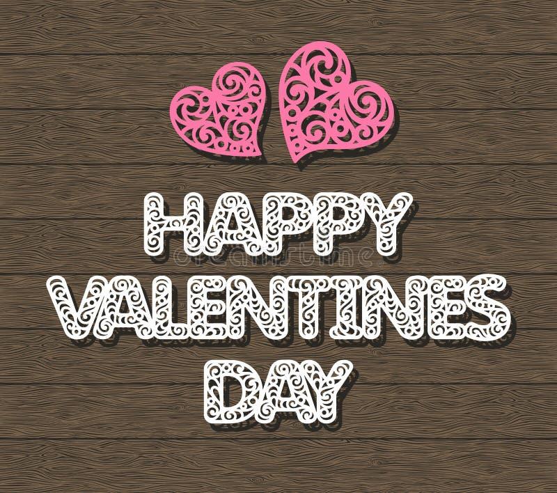 Palabras blancas día de San Valentín feliz y corazones rosados en fondo de madera marrón oscuro ilustración del vector