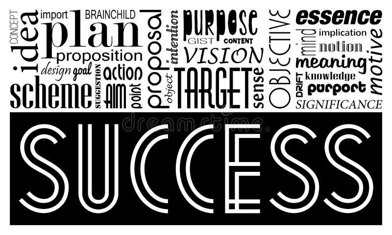 Palabras claves concepto y sinónimos del éxito Bandera de motivación de la idea ilustración del vector