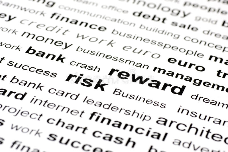 Palabras claves de la recompensa del riesgo imagen de archivo