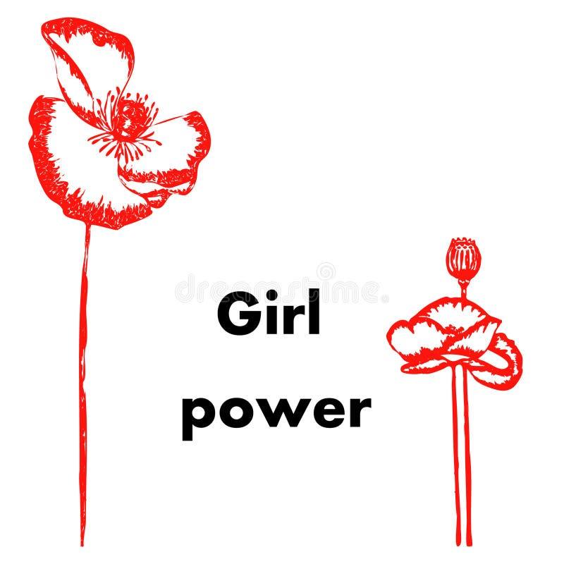 Palabras coloreadas rojas del poder de la muchacha en el fondo blanco con dos amapolas exhaustas de la mano por ambas partes ilustración del vector