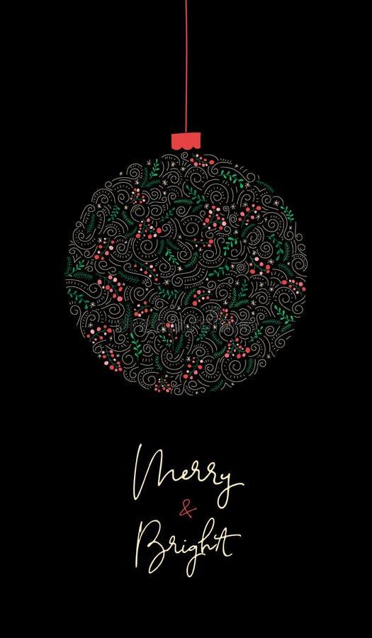 Palabras con caligrafía brillante y brillante con bauble de vacaciones de invierno, batidos, follaje navideño, bandera vertical n ilustración del vector