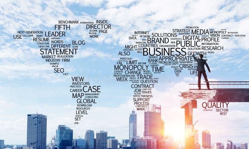 Palabras conceptuales del negocio de la escritura del hombre de negocios imágenes de archivo libres de regalías